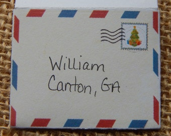 Elf Letters, Personalized Elf Envelopes, Air Mail Elf Envelopes, Doll Accessories, Mini Holiday Envelopes, Mail from Elf