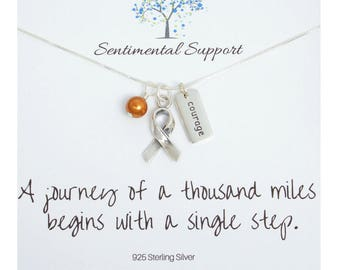 Leukemia, Kidney Cancer, Multiple Sclerosis or ADHD Awareness Necklace, Silver Ribbon and Choose a Word Charm, Orange Topaz Swarovski Pearl