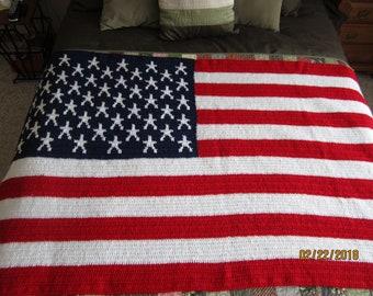 Hand crocheted American flag afghan