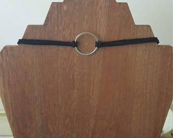 Suede silver ring choker