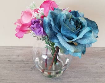 Turquoise & Pink Mixed Faux Flower Arrangement in Glass Vase with Acrylic Water, Silk Flower Arrangement, Spring Flowers, Home Decor