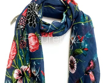 Multi Flowers Blue Scarf / Spring  Summer Scarf / Autumn Scarf / Gifts For Her / Women Scarves / Handmade Accessories