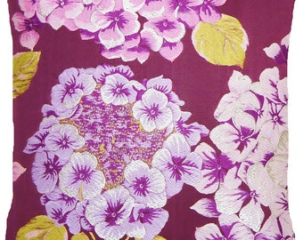 Hydrangea Cushion Cover Pink Lilac Silver Woven Fabric Osborne And Little