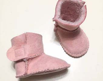 Pink suede ankle boots with soft white synthetic sheep inner for newborn/a