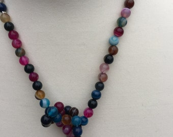 Agate Long Lariat,Long Lariat Necklace, Multi-coloured Heart Lariat, Handmade Gemstone Necklace, Designer Lariat