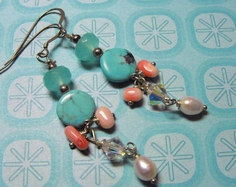 TAX Season Sale Sedona Serenity Sleeping Beauty Turquoise, Coral, Crystal,Chalcedony,Silver, and Pearl Dangle Earrings