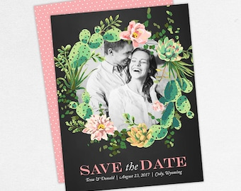 Wedding Save the Date (Anna) - Digital File, DIY, PDF, Printable, Printed, Succulents, Green, Pink, Watercolor, Floral, Chalkboard, Photo