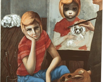 Big Eye Girl Lithograph Print HALF OFF - Margaret Keane 1963 Painitng a Girl Artist and Sue