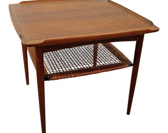 Mid-Century Danish Modern Poul Jensen Selig Teak Rattan End Table
