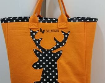 Tote bags, coated cotton, PolkaDots, deer, Orange lining