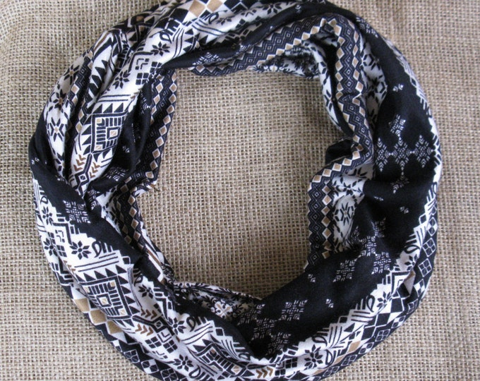 Infinity Scarf Cream Mocha Tribal Cotton Silky Soft