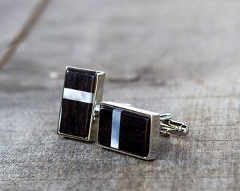 shell inlay cufflinks, Wedding Cufflinks, CuffLinks for groom groomsmen cufflinks, gift for men, EBONY Wood mother of pearl shell inlay