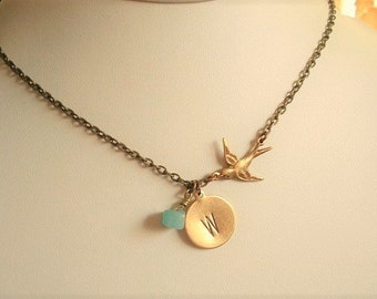 Initial Disc Necklace Hand Stamped Necklace Bird  Personalized Necklace Bird Necklace Bird Pendant Personalized Jewelry Aqua Stone Necklace
