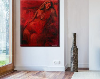 Painting Canvas, Oil Painting, Red Wall Art, Large Wall Art, Erotic Art Red Wall Decor, Red Painting, Large Canvas Art, Naked Art