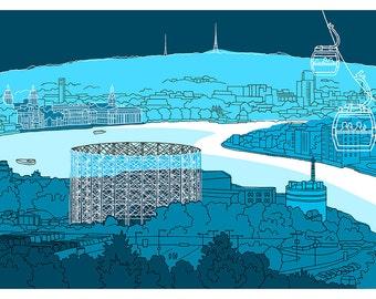 Aqua Greenwich, London - Signed Limited Edition Art Print