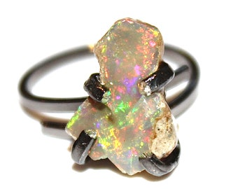 Super Fire Raw Rainbow Opal Raw Opal Ring Natural Opal Jewelry Ethiopian Opal Chunky Ring Black Gold Ring Adjustable Ring Artisan Jewelry