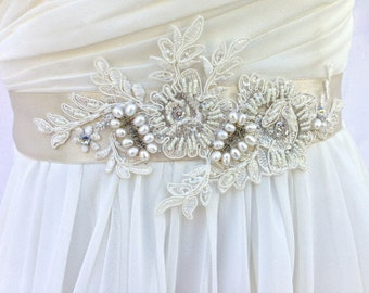 Bridal Sash, Wedding Sash in Pale Champagne And Ivory With Lace, Crystals and Cultured Pearls, Rhinestones, Bridal Belt