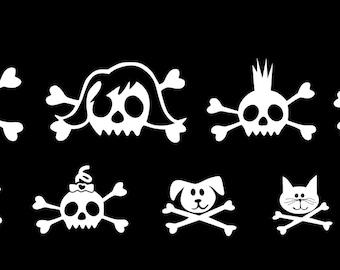 Skull Family Car Stickers