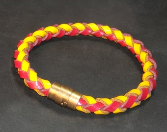 "Men's braclet, red and yellow gold leather with antique brass magnetic clasp. Choose size up to 9 inches around when ordering. #W-06   8"" 7"""