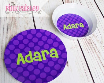 Personalized Plate | Children's Plate and Bowl | Kids Dinner Set |  Polka Dots | Melamine Plate | Birthday Plate | Birthday Gift