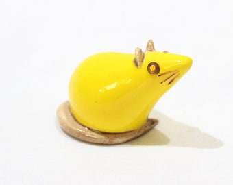 Vintage Yellow and Beige Mouse Figurine, Miniature Mouse, Home Decor