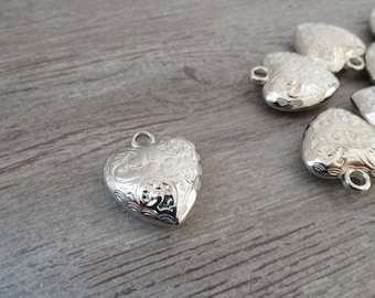 Charm 25 X 25 mm heart silver plated, full, shiny