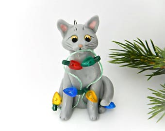 Russian Blue Cat PORCELAIN Christmas Ornament Figurine with Lights