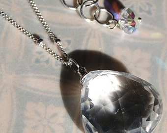 Large Crystal Quartz Necklace, Natural Clear Briolette 18mm Gemstone Wire Wrapped on Sterling Silver Chain, Aurora