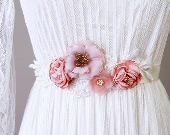 Bridal Sash Belt Wedding Dress Sashes Belts -  Taupe Pink Salmon Peach Flower Sash Belt - Rustic Sash Belt Boho Bohemian Woodland