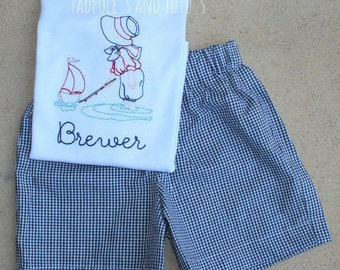 Personalized Vintage Sailboat Boy with Matching Bottoms