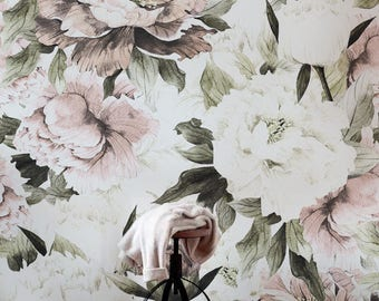 Dusty Peony Floral Wallpaper