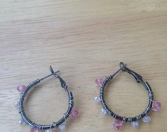 Pink and White Crystal Hoop Earrings