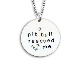A Pit Bull Rescued Me Sterling Silver Necklace
