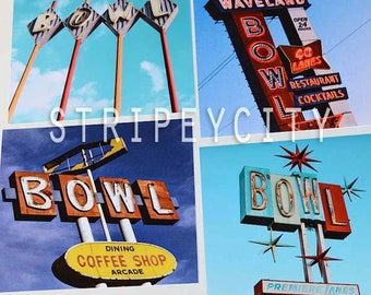 Bowling Alley Color Photography Series, Bowl Prints, Set of 4 Prints, Mod Mod Decor, Colorful Wall Art, Vintage Signage, Fits Ikea Ribba