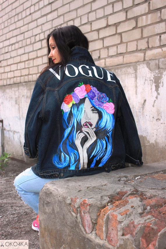 Hand Painted Denim Jacket With Painting Jacket With Art Work