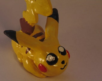 Handmade Pikachu Sculpture, Pokemon, Electric-Type, Electric Mouse, Yellow, Brown, Black, Red, Polymer Clay