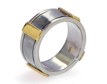 Gold Men's Wedding Band, Stainless Steel Wedding Band, Sterling Silver Wedding Band for Men, Wide Wedding Band