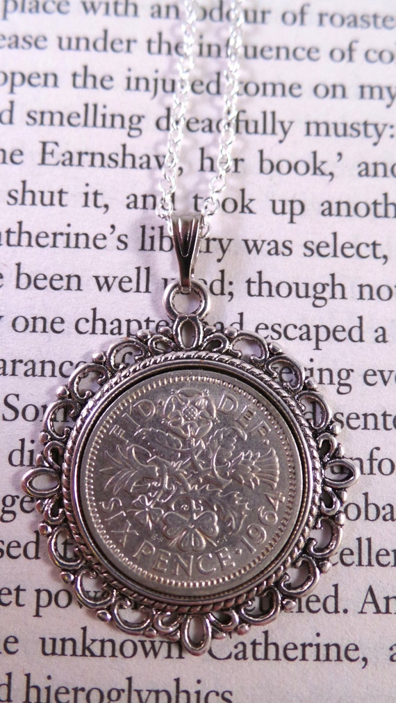 Lucky Sixpence Necklace 1964 53rd Birthday Ideas Wedding Or