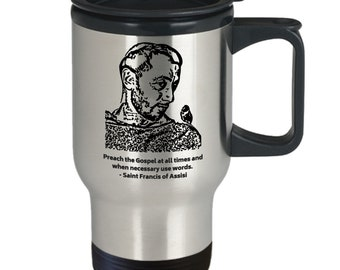 Catholic travel mug - saint francis of assisi