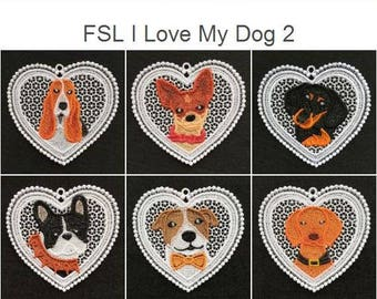 FSL I Love My Dog 2 Free Standing Lace Machine Embroidery Designs Instant Download 4x4 hoop 10 designs APE2499