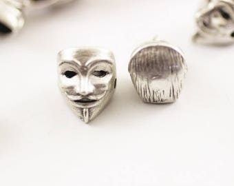 1 Pc Matt Silver Plated V for Vendetta Beads, 11 x 14mm Guy Fawkes Mask Charms with Two Holes, V for Vendetta Beads -Vendetta Beads