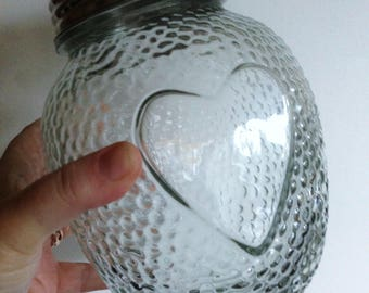 textured glass storage jar with embossed heart motif  Jar of Hearts
