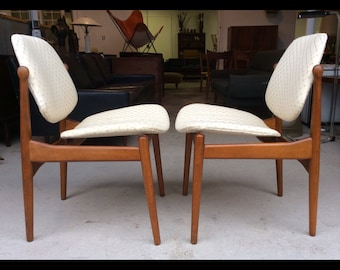 Pair Arne Vodder France & Son Teak Side Chairs Danish Modern Mid Century