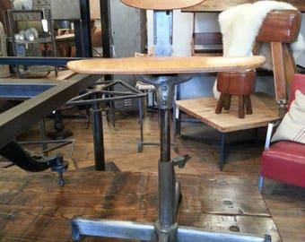 Vintage industrial adjustable factory stool