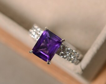 Purple engagement ring, sterling silver, February birthstone, purple gemstone ring