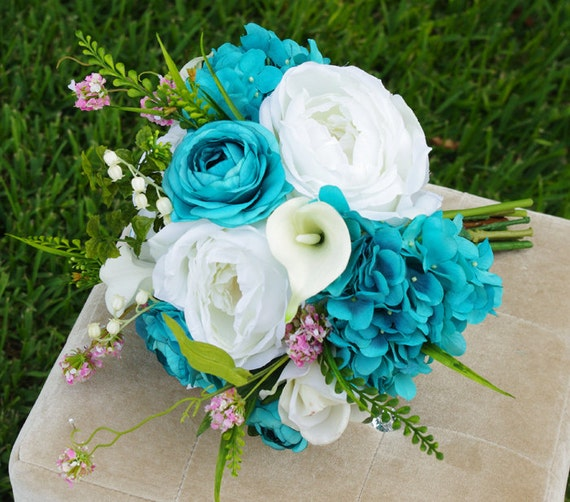 aqua wedding flowers wedding teal turquoise touch roses silk flower 1355