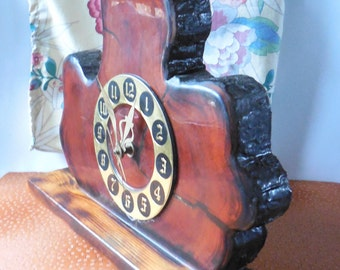 Artisan Burl Wood Clock * Vintage battery operated clock