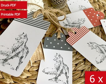 Printable set of 6 Gift Tags, Christmas Tags, Gift Tags with Fox