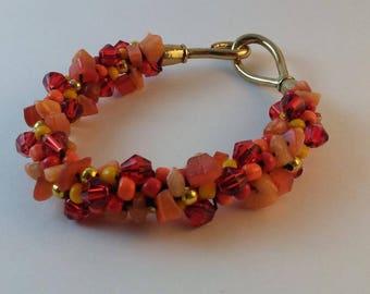 Red and Orange beaded bracelet