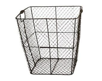 Wire Basket, Vintage Storage Basket, Rustic Farmhouse Decor, Cabin, Housewarming Gift, Metal Patina,  Bin, Home Decor